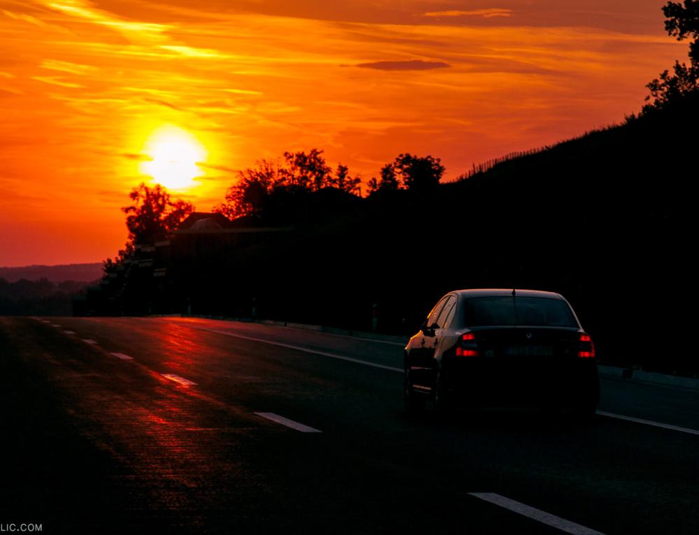 SUNDOWN ON A ROAD