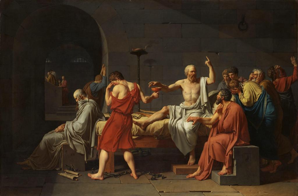 Citati iz knjige: Sokratova odbrana izreke / slika / ArtistJacques-Louis David Year 1787 Medium Oil on canvas Dimensions 129.5 cm × 196.2 cm (51.0 in × 77.2 in) Location Metropolitan Museum of Art, New York