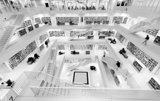 STUTTGART CITY LIBRARY - BIBLIOTHEK - STADTBIBLIOTHEK - BLACK AND WHITE BW PHOTOS - LEON BIJELIC PHOTOGRAPHY - GERMANY