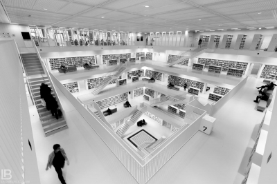 STUTTGART CITY LIBRARY - BIBLIOTHEK - STADTBIBLIOTHEK - BLACK AND WHITE BW PHOTOS - LEON BIJELIC PHOTOGRAPHY
