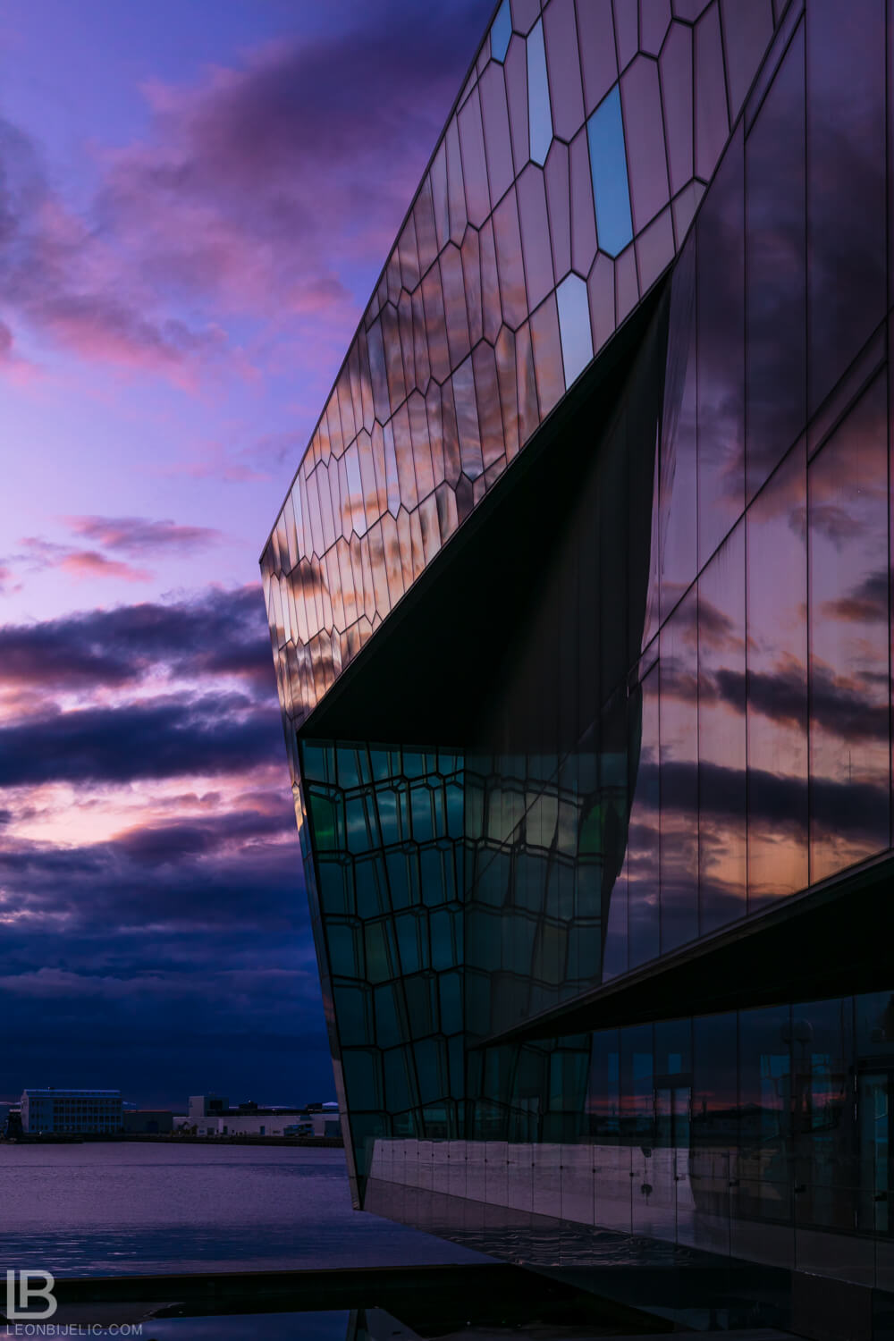 ICELAND - CAPITAL CITY REYKJAVIK - PHOTOS - SUNSET VIEW BEAUTIFUL PLANE PURPLE COLOR - the Harpa Concert Hall - Old Harbour